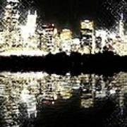 Sears Tower Dominated Skyline Lake Reflection  Art Print