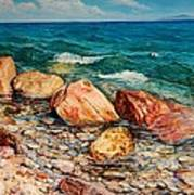 Seascape - Red Rocks  Art Print