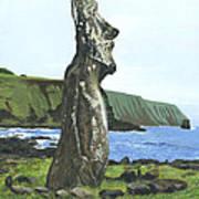 Seaside Moai Art Print