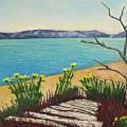 Seaside Island Beach With Flowers Art Print