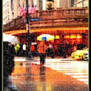 Season's Greetings - Yellow And Blue Umbrella - Holiday And Christmas Card Art Print