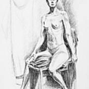Seated Model Drawing  Art Print