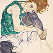Seated Woman With Legs Drawn Up. Adele Herms Art Print