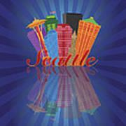 Seattle Abstract Skyline Reflection Background Illustration Art Print