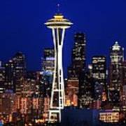 Seattle By Night Art Print