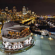 Seattle City Skyline And Marina At Night Art Print