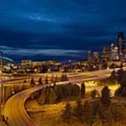 Seattle City Skyline At Blue Hour Art Print