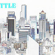 Seattle City With Print Art Print