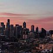 Seattle Cityscape Sunrise Art Print