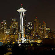 Seattle Downtown Skyline Evening Panorama Art Print