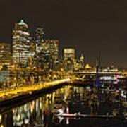 Seattle Downtown Waterfront Skyline At Night Reflection Art Print