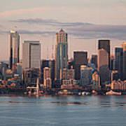 Seattle Dusk Skyline Art Print