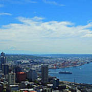 Seattle Harbor And Mt Rainier From Space Needle Art Print