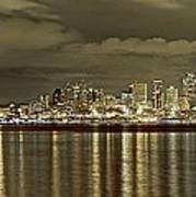 Seattle Lights At Night From Alki Art Print