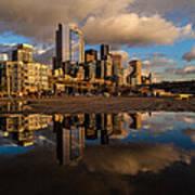 Seattle Pier Sunset Clouds Art Print
