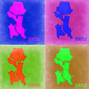 Seattle Pop Art Map 2 Art Print