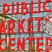 Seattle Public Market Center Clock Sign Art Print