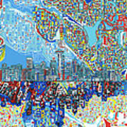 Seattle Skyline Abstract 7 Art Print