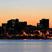 Seattle Skyline And Puget Sound At Sunrise Art Print