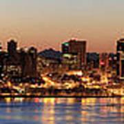 Seattle Skyline At Dawn Along Puget Sound Art Print