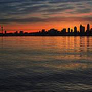 Seattle Skyline At Dawn Art Print