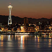 Seattle Skyline At Night By The Pier Panorama Art Print