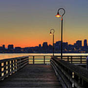 Seattle Skyline From The Pier At Sunrise Art Print