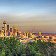 Seattle Skyline Lens Baby Hdr Art Print
