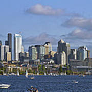 Seattle Skyline On Lake Union Art Print