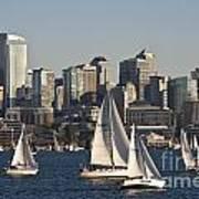 Seattle Skyline With Sailboats Art Print