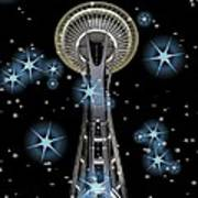 Seattle Space Needle Blue Stars Art Print