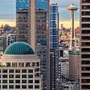 Seattle Space Needle Golden Sunset Light Art Print