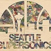 Seattle Supersonics Poster Vintage Art Print