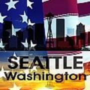 Seattle Wa Patriotic Large Cityscape Art Print