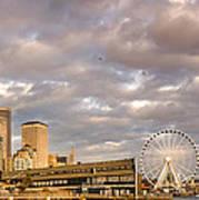 Seattle Waterfront Bathed In Golden Hour - Seattle Skyline - Puget Sound Washington State Art Print