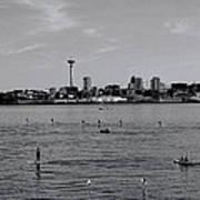 Seattle Waterfront Bw 2 Art Print