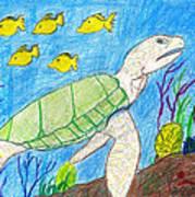 Seaturtle Swimming The Reef Art Print