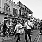 Second Line Parade Bw Art Print