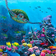 Secret Sanctuary - Hawaiian Green Sea Turtle And Reef Art Print