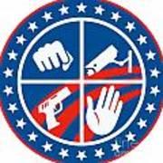Security Cctv Camera Gun Fist Hand Circle Art Print