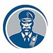 Security Guard Police Officer Radio Circle Art Print by Aloysius Patrimonio