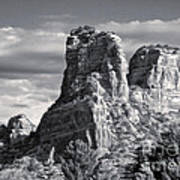 Sedona Arizona Mountain Peak - Black And White Art Print