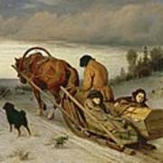 Seeing Off The Dead, 1865 Oil On Canvas Art Print
