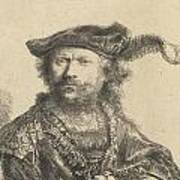 Self Portrait In A Velvet Cap With Plume Art Print by Rembrandt