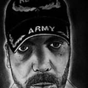 Self Portrait With Us Army Retired Cap Art Print