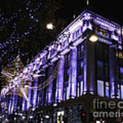 Selfridges London At Christmas Time Art Print