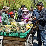 Selling Fresh Pineapple On Street In Lhasa-tibet    Art Print