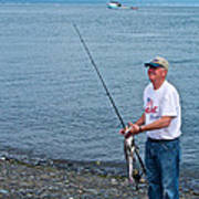 Senior Caught A Pollock In Kachemak Bay Off Homer Spit-alaska Art Print