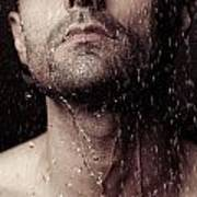 Sensual Portrait Of Man Face Under Shower Art Print