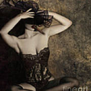 Sensuality In Sepia - Self Portrait Print by Jaeda DeWalt